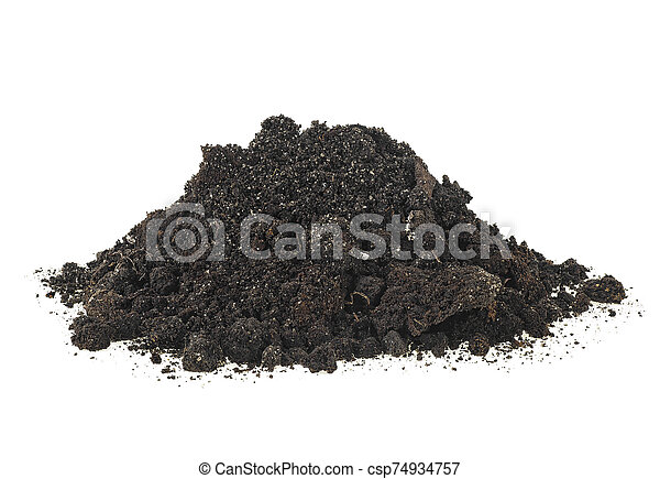 Dirt, pile of soil isolated on a white background. - csp74934757