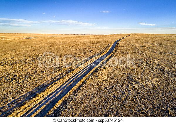 dirt ranch road in northern Colorado - csp53745124