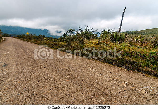 Dirt Road and Clouds - csp13225273