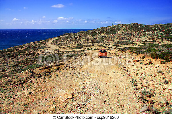 dirt road on a mountain slope. Greece. Rhodes - csp9816260