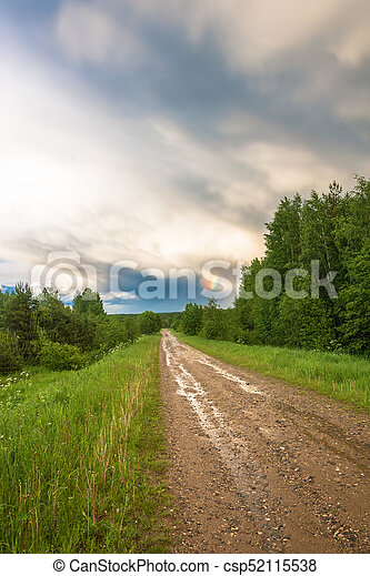 Dirt road on a rainy day. - csp52115538