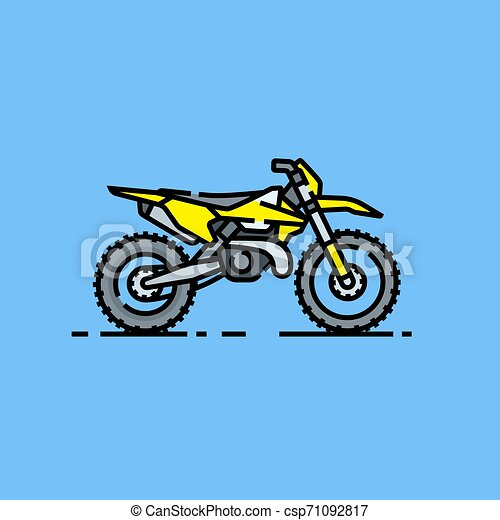 Dirtbike Line Icon Offroad Motorcycle Symbol Motorcross Bike Graphic Yellow Enduro Motorbike Isolated On Blue Background Canstock
