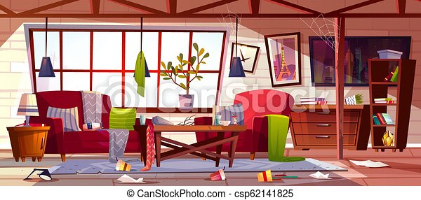 Dirty Apartment With Scattered Clothes Vector Messy Living Room