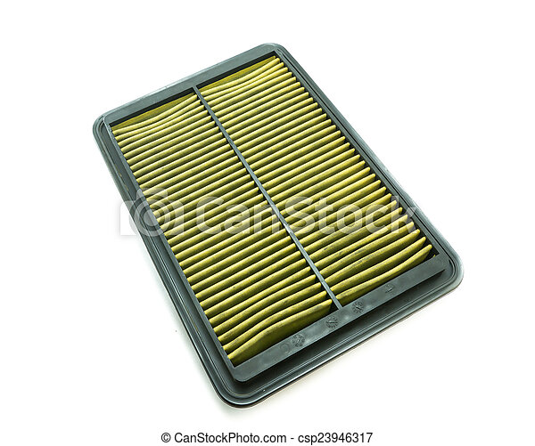 Dirty car air filter on white background - csp23946317
