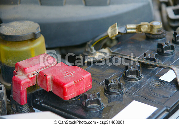 Dirty Car Battery With Red Positive Polarity For Auto Concept Selective