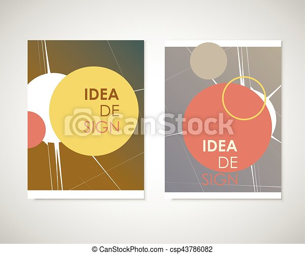 Dirty circles with text on brochure for your ideas. Presentation, cover book or annual report - csp43786082