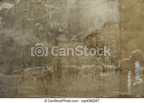 dirty gray beige old worn concrete wall - csp4362267