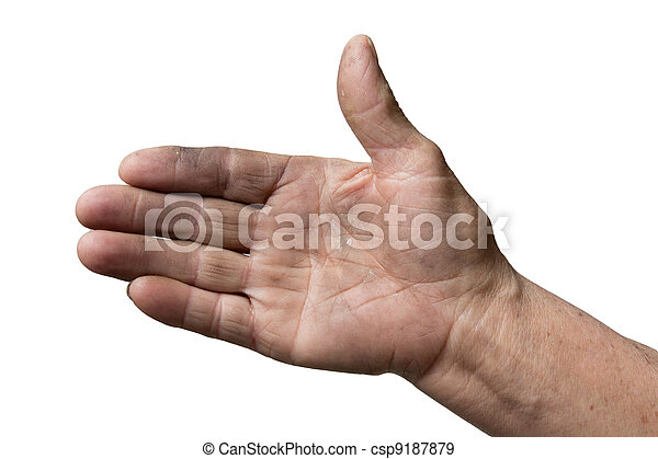 dirty hands of the old man on a white background - csp9187879