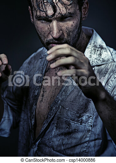 Dirty handsome man preparing to fight - csp14000886