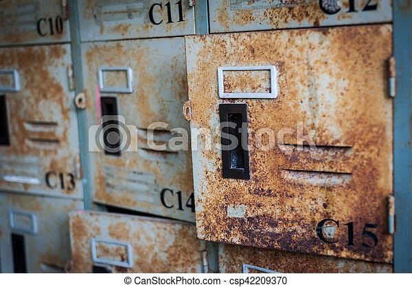 Dirty Locker in soft light - csp42209370