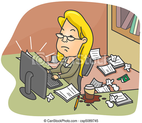 Illustration Of A Woman Working In A Dirty Office