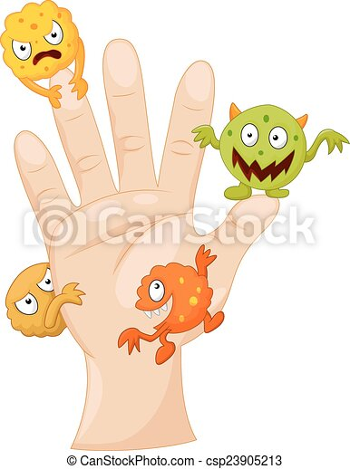 Dirty palm with cartoon germs - csp23905213