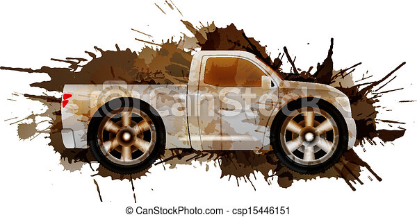 Dirty pickup with big wheels - csp15446151