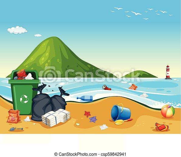 Dirty pollited beach scene illustration.