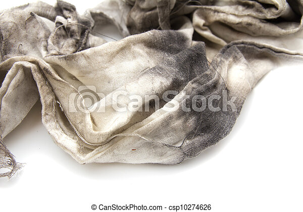6d0d629838041 Dirty rag on a white background.