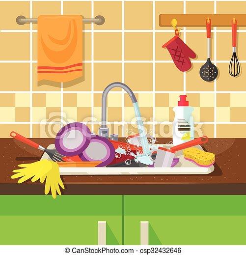 Dirty sink with kitchenware - csp32432646