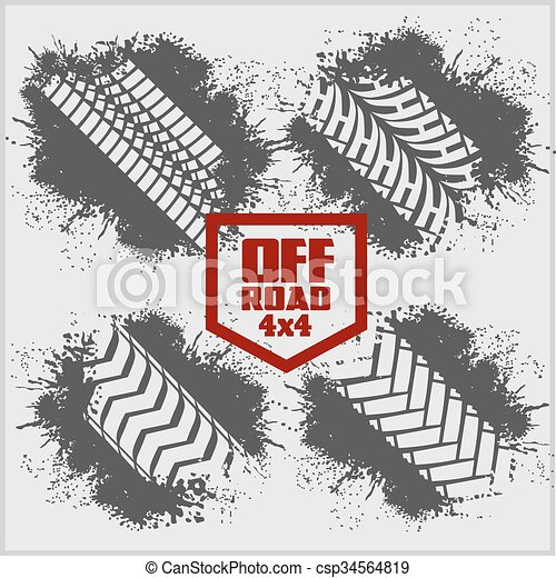 Dirty tire tracks and grunge ink paint splat - csp34564819
