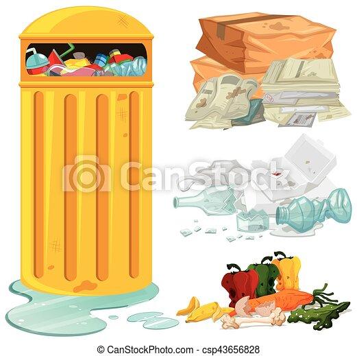 Dirty trash and garbage bin - csp43656828