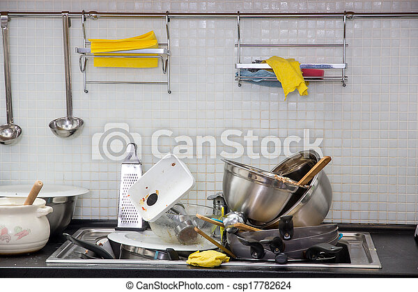 Dirty utensil on the kitchen - csp17782624