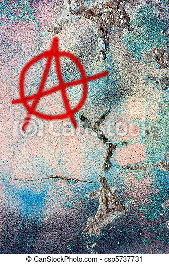 dirty wall with anarchy symbol - csp5737731