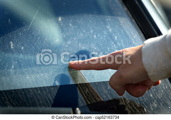 Dirty windshield of a car - csp52163734