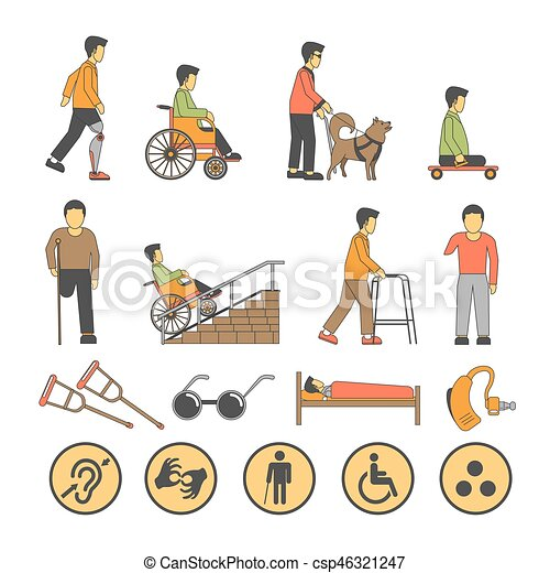 Disability handicapped people with limited physical opportunities vector icons - csp46321247
