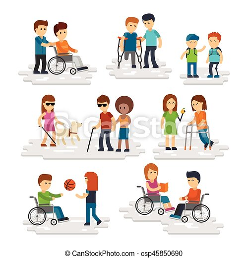 Disability Person Vector Flat Young Disabled People And Friends Helping Them