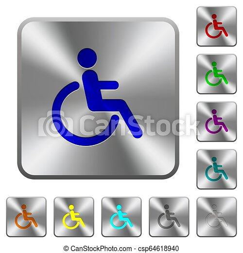 Disability rounded square steel buttons - csp64618940