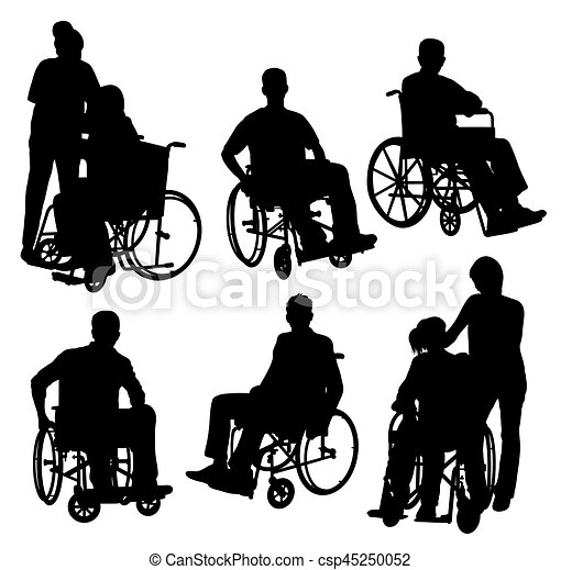 Disabled and old people silhouettes, art vector design.