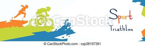 Disabled Athletes Triathlon Marathon Sport Competition Silhouette - csp38197391