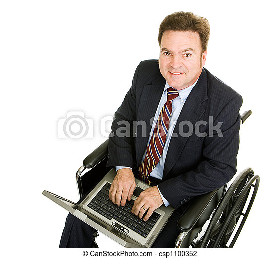 Disabled Businessman on Computer - csp1100352
