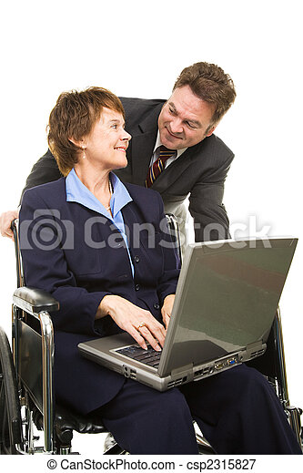 Disabled Businesswoman and Boss - csp2315827