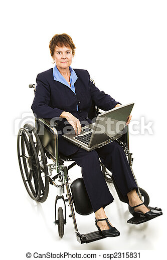 Disabled Businesswoman - Serious - csp2315831