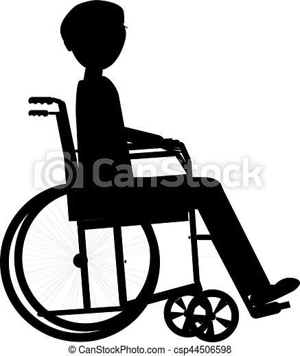 Disabled Man In A Wheelchair Medical Health Concept Silhouette
