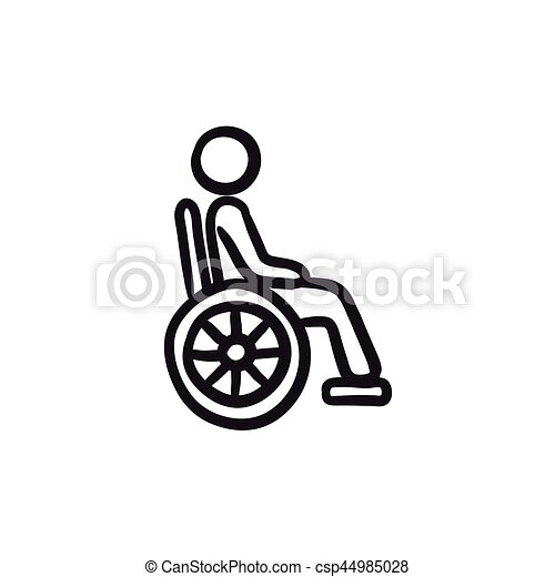 Disabled Person Sketch Icon