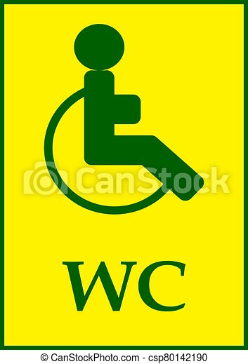 Disabled toilet sign template and text wc. - csp80142190