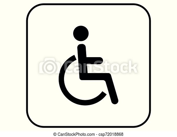 disabled wc sign, wheelchair toilet icon symbol - - csp72018868