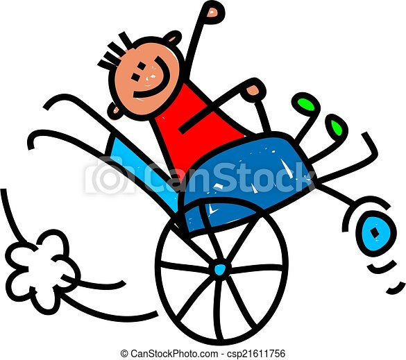 Disabled wheely boy whimsical cartoon illustration of a for Basketball en chaise roulante
