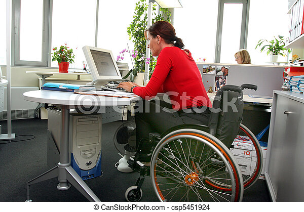 disabled woman in a wheelchair. - csp5451924