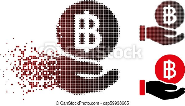 Disappearing Pixel Halftone Thai Baht Coin Payment Icon - csp59938665