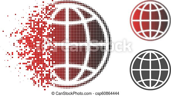 Disappearing Pixelated Halftone Internet Globe Icon