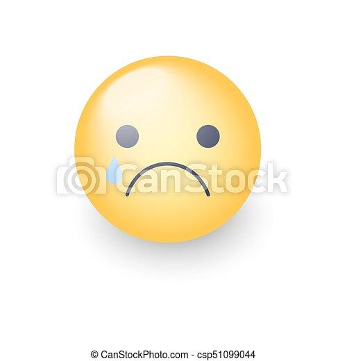 Disappointed Emoji Face Crying Vector Cartoon Smiley Sad Emoticon