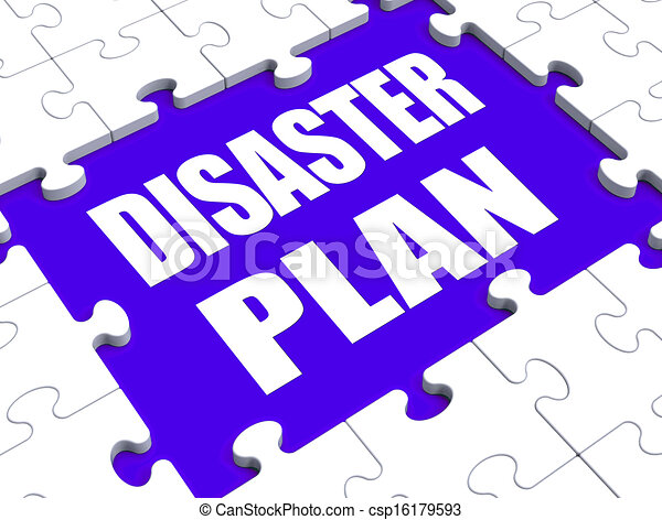 Disaster Plan Puzzle Shows Danger Emergency Crisis Protection - csp16179593