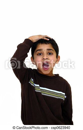 a child puts his hand on head in disbelief stock photography