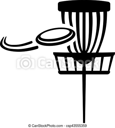 disc golf basket with flying frisbee clipart vector search rh canstockphoto com ultimate frisbee clipart frisbee clipart free