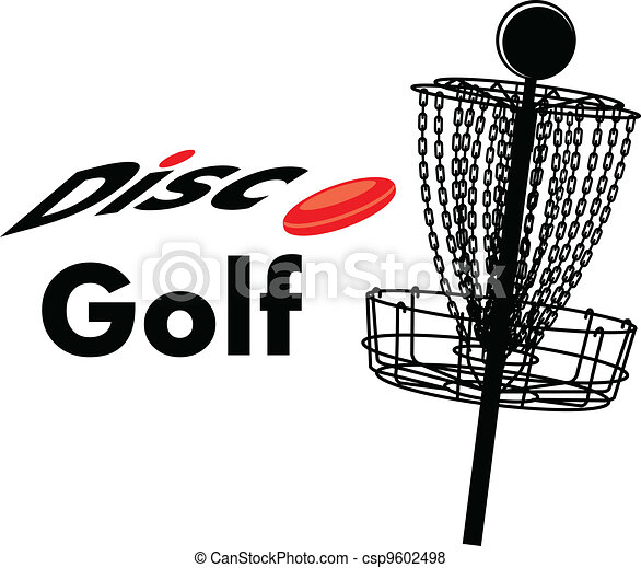 a disc golf cage with text disc golf and a disc rh canstockphoto com Disc Golf Graphics disc golf clip art free