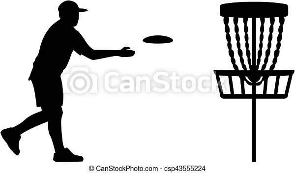 disc golf player throwing a disc in the basket rh canstockphoto com disc golf basket clip art Funny Disc Golf