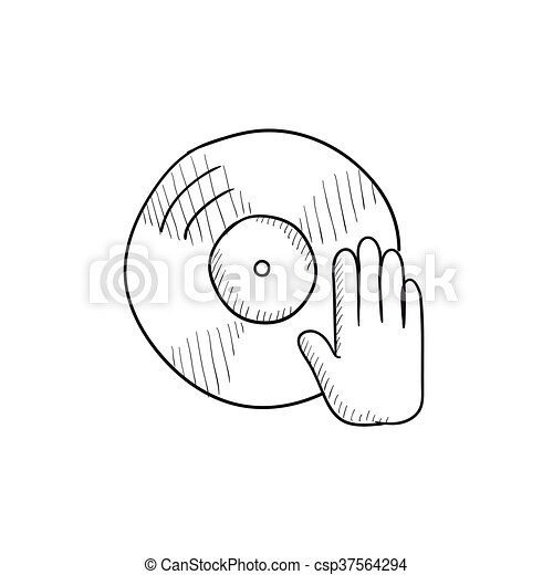 Disc With Dj Hand Sketch Icon Disc With Dj Hand Vector Sketch Icon