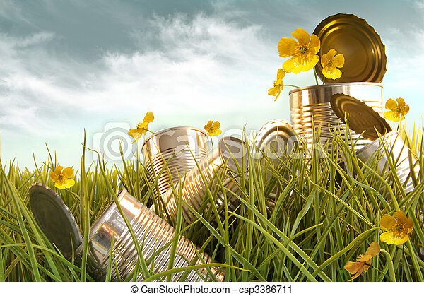 Discarded aluminium cans in tall grass against sky discarded aluminium cans in tall grass csp3386711 mightylinksfo