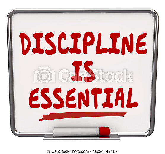 Discipline is Essential Words Dry Erase Board Commitment Control - csp24147467